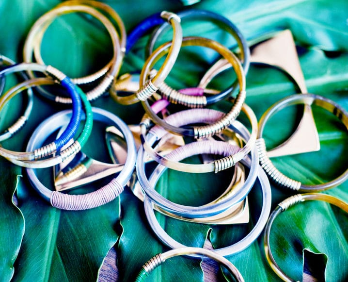 An array of multi-colored bangles for spring
