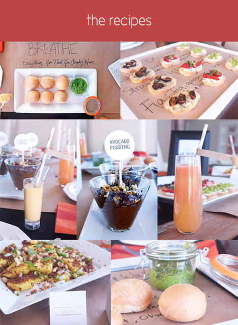 Collage of different foods and recipes for yoga parties