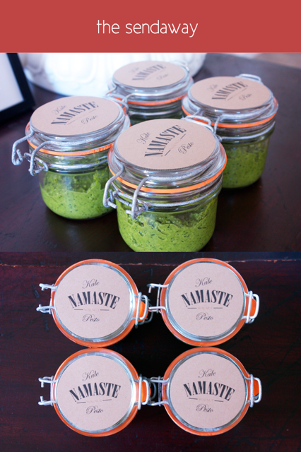 Split photo, with small mason jars with kale walnut pesto shot from an angle above, and from aerial view below