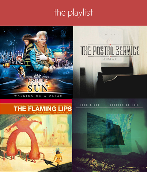 Collage with varying covers of albums for yoga parties playlist