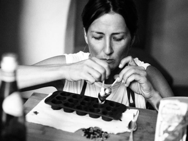 Anna making raw chocolate
