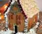 Close-up of a healthy gingerbread house decorated for Christmas
