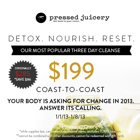 Happy New Year from Pressed Juicery: A Special 3-Day Cleanse Deal