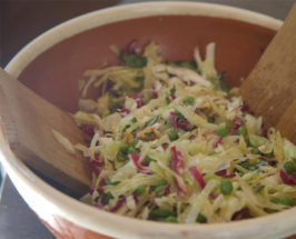 Lemon Coleslaw with Toasted Walnuts + Spring Peas