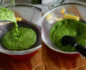 Split photo with a fine mesh strainer placed over a bowl and smoothie pouring out of the blender on the left, and the strainer filled with the blended drink on the right