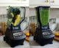 Split photo with a blender full of ingredients on the left and a blender filled with a green smoothie on the right