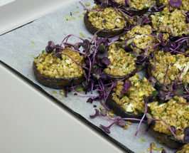 Oh, Ottolenghi: Portobello Mushrooms with Barley and Basil Sprouts