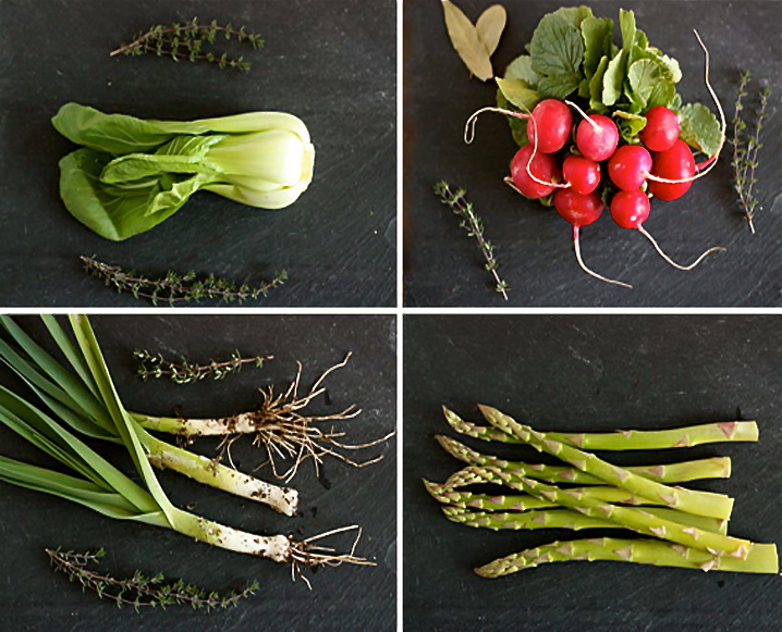 Four-split photo with (clockwise from top left) bok choy, radishes, asparagus, and baby leeks