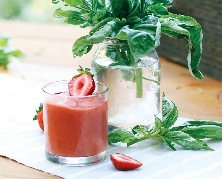 strawberry basil superfood smoothie