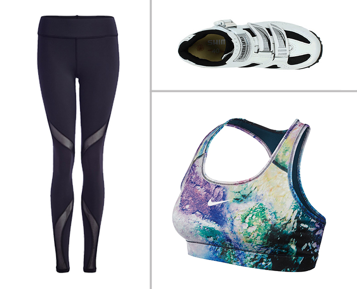 3 spin bike accessories including padded leggings, cycling shoes and sports bra