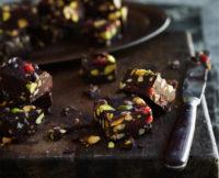 Flourless: Pistachio-Stuffed Chocolate Chunks with Cranberries + Walnuts
