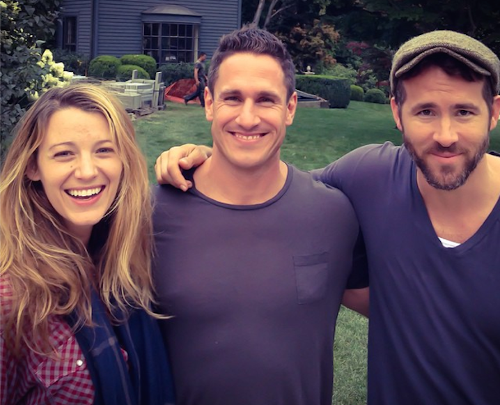 Celebrity trainer Don Saladino with Blake Lively on his left and Ryan Reynolds on his right