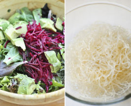 Split photo with a bowl of salad on the left and a glass bowl of kelp noodles on the right