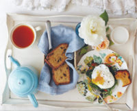 Breakfast in Bed: Quinoa Toast with Poached Eggs + Greens