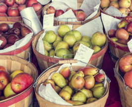 Buckets of apples, pears and mangos stacked next to each other in a market display