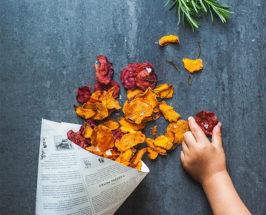 roasted beet and sweet potato chips