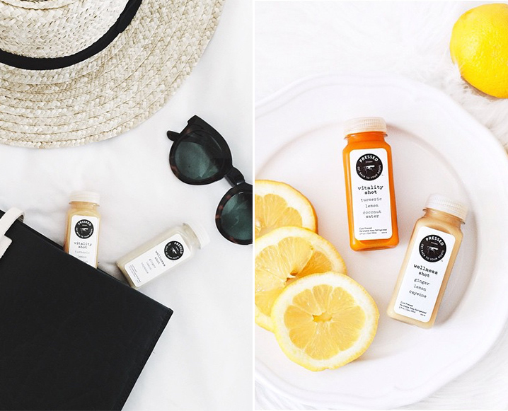 Split photo with sun hat, sunglasses and 2 Pressed Juicery shots on the left, and two Pressed Juicery shots on a plate with sliced lemons on the right