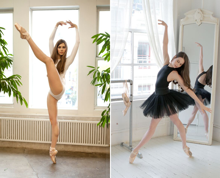 Split photo of a ballerina in two different poses, dressed in white bodice on the left and black tutu on the right