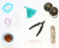 Beads, strings, clippers and other items to learn how to make a mala