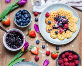 Gluten-Free Waffles With Orange Zest + Maple Blueberry Compote