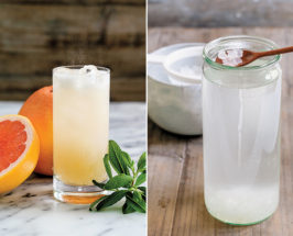 Split photo with a glass of water kefir, grapefruit and mint on the left, and water jar with kefir grains on a wooden spoon on the right