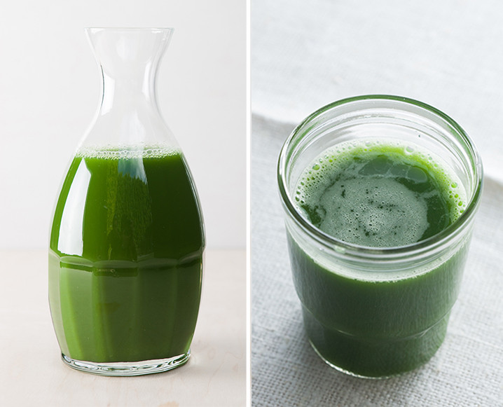 Split photo with a carafe of green low sugar juice on the left and a glass of green juice on the right