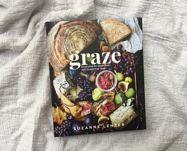 graze cookbook on linen blanket