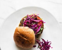 vegan black bean burgers with slaw