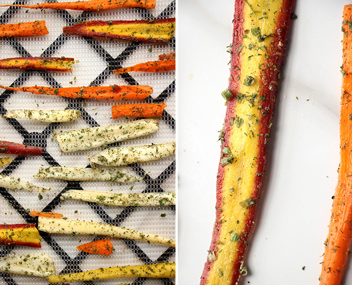 Split photo with medium shot of dehydrated carrot chips on the left and close up of one dried carrot chip on the right