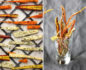 Split photo with dried carrot chips laid on a surface on the left and stacked in a tall glass on the right