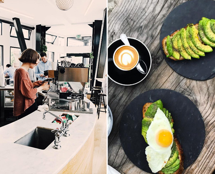 Split photo with an image of Réveille Coffee Co on the left and avocado toast, coffee and egg-topped avocado toast on the right