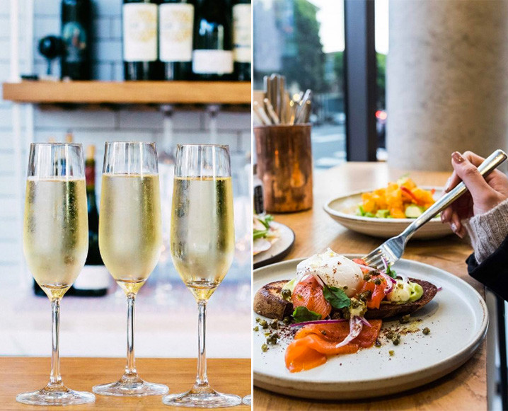 Split photo with 3 champagne flutes on the left and 3 plates with brunch dishes on a wooden tabletop on the right