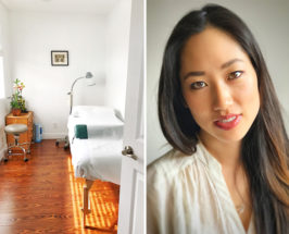 Split photo with a cosmetic acupuncture therapy room on the left and close-up of a facial acupuncture pro on the right