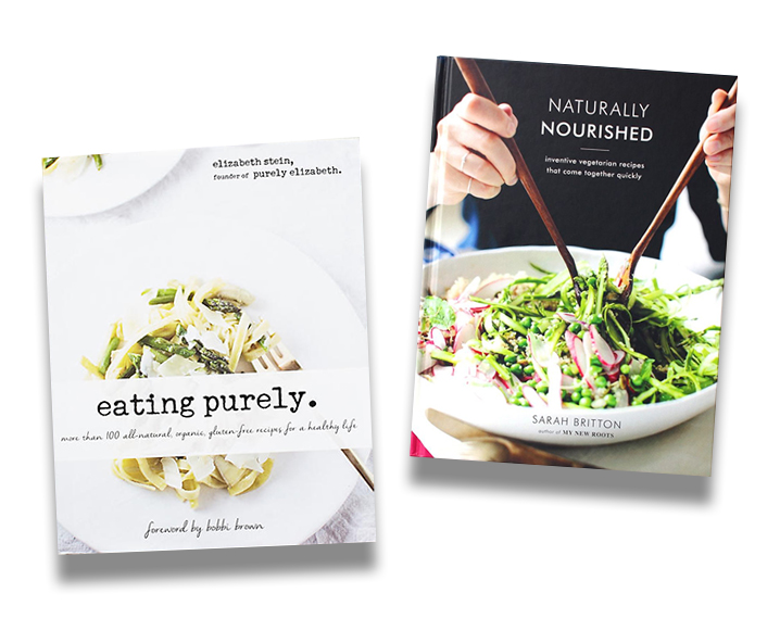 Two of the best gluten-free cookbooks, one white entitled 'Eating Purely' and one black entitled 'Naturally Nourished'