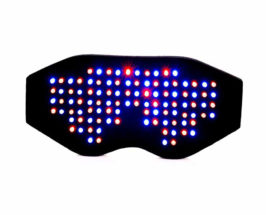 Black device with blue and red lights, used for LED light therapy for pain