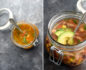Split photo of mason jar soup with an aerial shot on the left and a close-up on the right
