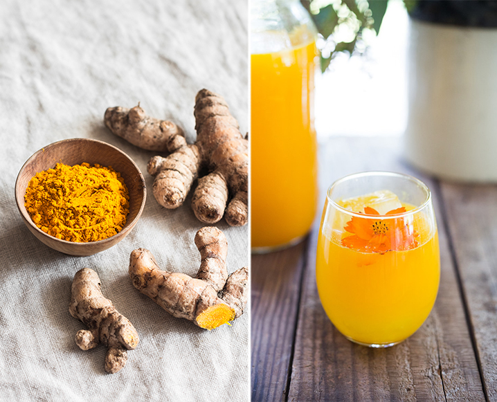 Split photo with turmeric and a bowl of turmeric powder on the left, and a glass of orange jamu on a wooden table on the right