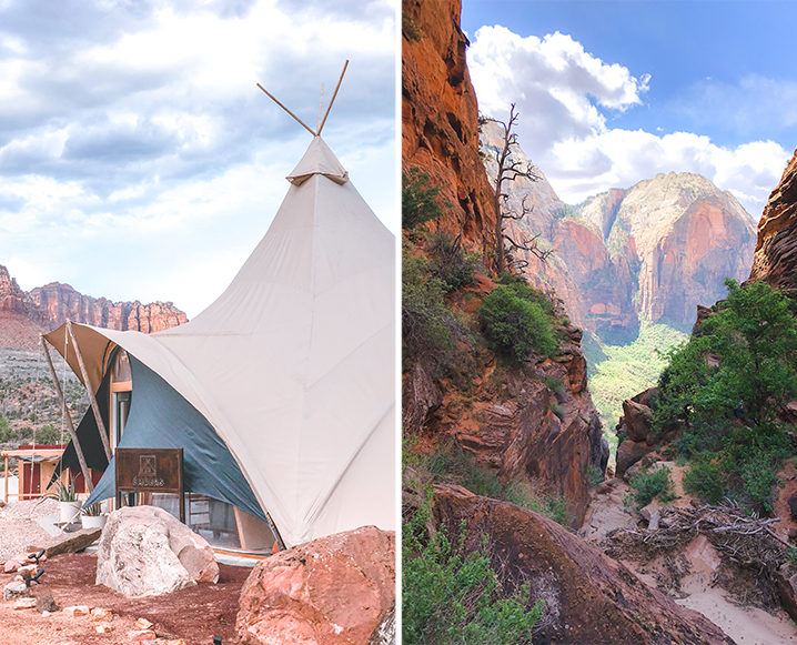 Split photo with the inside of Under Canvas tent on the left and a man reading in bed in a ten on the right