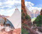 Split photo with a tent on the left and a narrow hike path through the canyon on the right