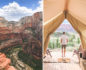 Split photo with a canyon view on the left and a man standing in front of a tent admiring the view on the right