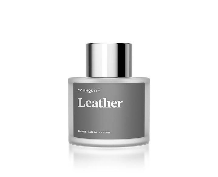 Grey bottle of Commodity's Leather perfume