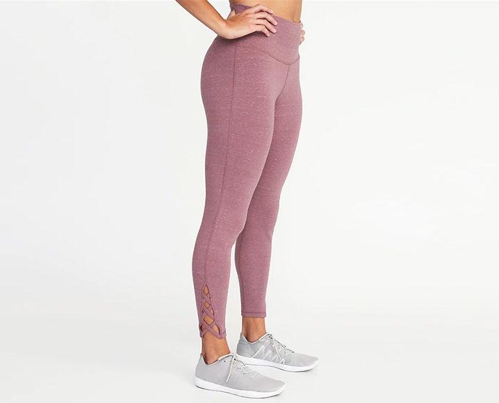 fitnesswear on a budget OLD NAVY HIGH-RISE 7/8 LATTICE YOGA LEGGINGS