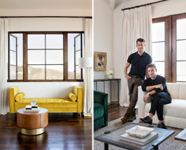 Split photo with a long shot of a lounge area on the left and 2 men in a living room on the right