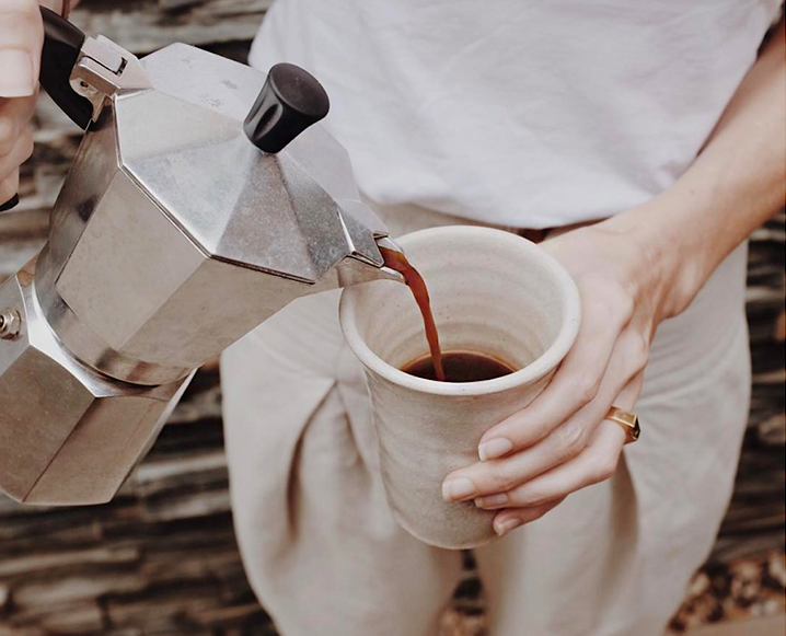 pouring Turkish Coffee mint cardamom recipe