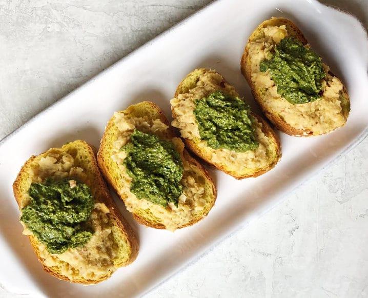 Winter Greens Pesto crostini