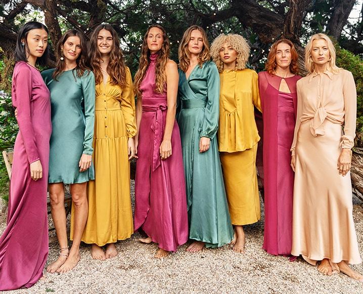 Awave Awake silk dresses on models