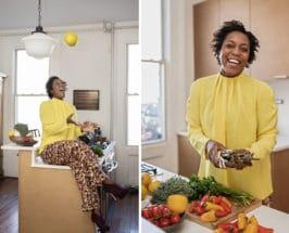 maya feller in kitchen on SAD diet