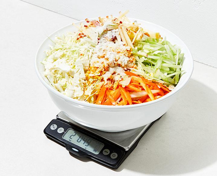 homemade sauerkraut on scale