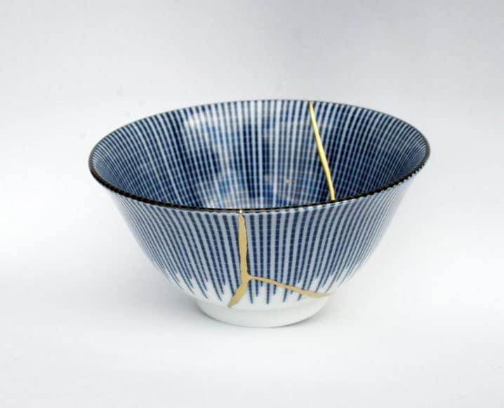 blue kintsugi bowl