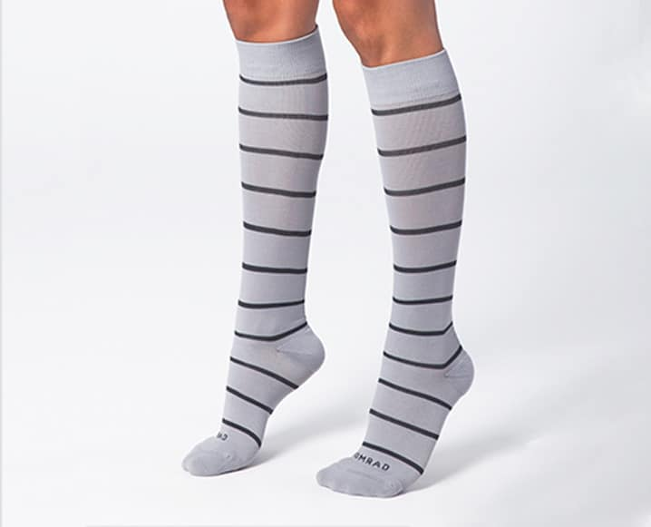 grey and white stripped socks